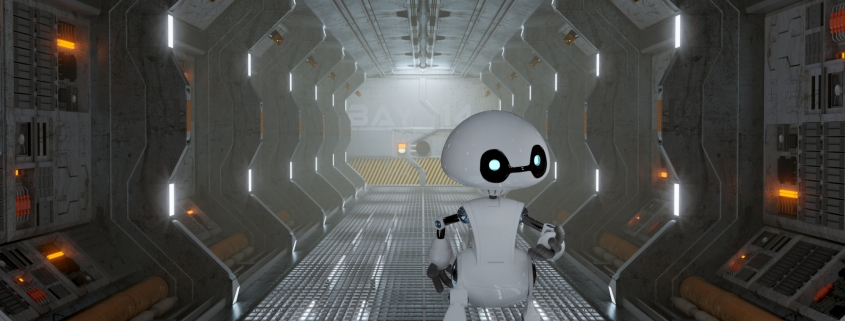 ROBOT IN A SPACESHIP CORRIDOR (© Julien Deville & Andrew Price)