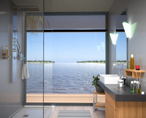 LODGE CONTAINER Bathroom with transparent glass V3 - © ALL InCube